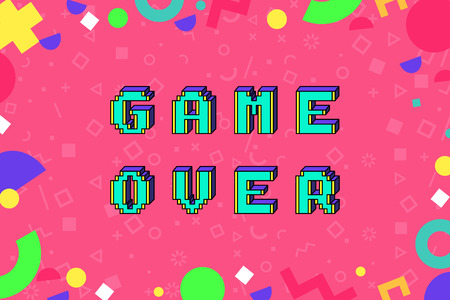 game over phrase in pixel art 8 bit style. 3D letters effect . Trendy geometric pattern around