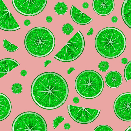 Seamless vector pattern with realistic sliced limes on pink background