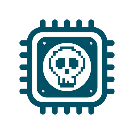 Vector CPU icon with skull. Concept of cyber security and Meltdown and Spectre critical exploit vulnerabilities in modern processors. Monochrome flat image