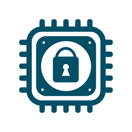 Vector CPU icon with lock sign. Concept of cyber security and Meltdown and Spectre critical vulnerabilities in modern processors. Monochrome flat image