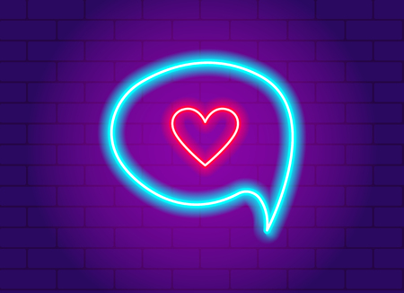 neon glowing heart in a speech bubble. Lighted wires on brick background. Concept of valentines day and love