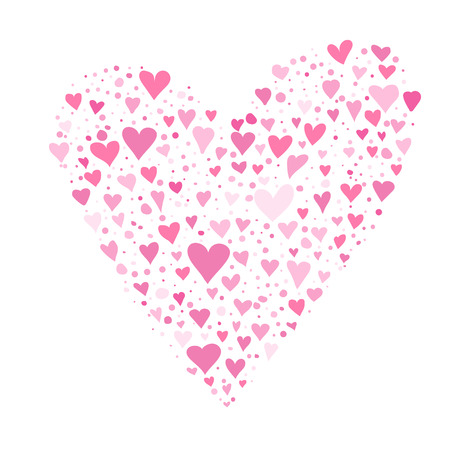 valentine day card design with multiple hearts in the from of a big heart.
