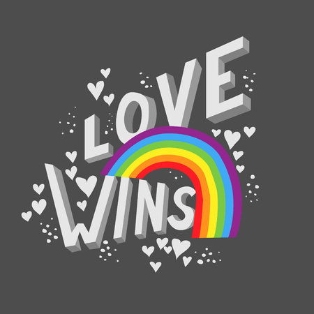 Love wins valentines day poster card design. LGBTQIA pride concept. 3D letters with rainbow Ilustrace