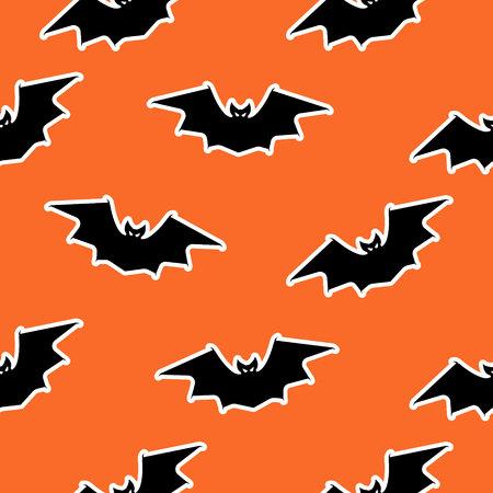Stock vector Halloween bat seamless pattern on orange background. Halloween concept