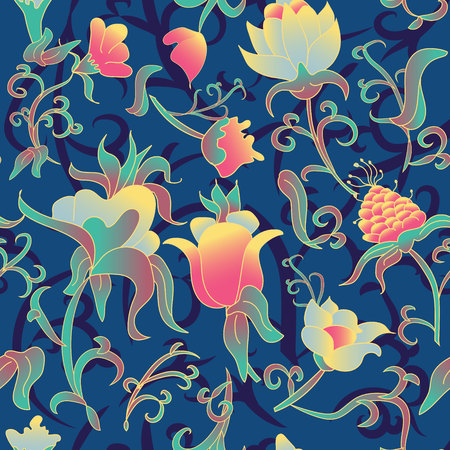 Vector floral seamless pattern. Fantasy Art deco style flowers and leaves. Illustration luxury design for textiles, paper, wallpaper, curtains, blinds. Vintage upholstery