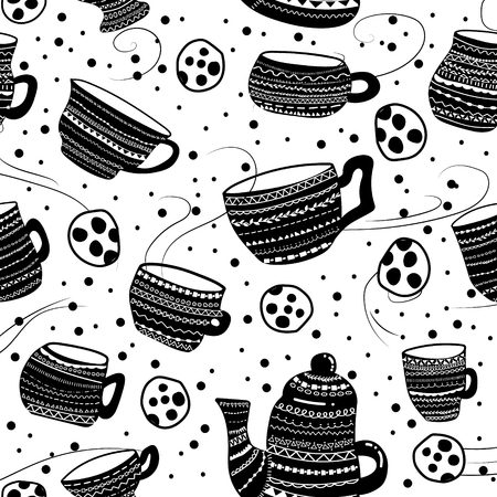 Vector seamless pattern with cups, kettle and cookies. Tea party design for kitchen textile, home decor. Hygge lagom concept