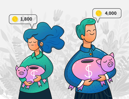young man and woman holding piggy banks of different sizes. Concept of payment inequality and wage gap. Income in speech bubble. Trendy cartoon design.