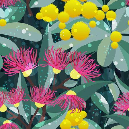 Vektornahtloses Muster mit blühendem Eukalyptusgummibaum und Akazie. Botanisches Textilgewebedesign der australischen Flora Vektorgrafik