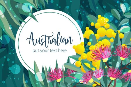Tropical australian nature background. Vector illustration of eucalyptus leaves and flowers, blooming gum on dark backdrop. Circle design template wreath for cards, invitations, banners, flyers