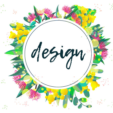 Tropical australian nature background. Vector illustration of eucalyptus leaves and flowers, blooming gum on white. Circle design template wreath for cards, invitations, banners, flyers Illustration