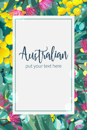 Tropical australian nature background. Vector illustration of eucalyptus leaves and flowers, blooming gum on dark backdrop. Vertical design template for cards, invitations, banners, flyers