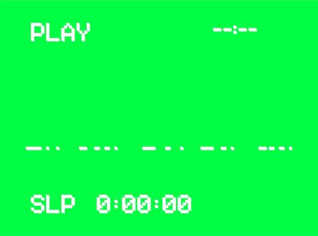 VHS intro screen of a videotape player. Retro 80s style vintage television video recorder pixel art background. Green screen chromakey vector