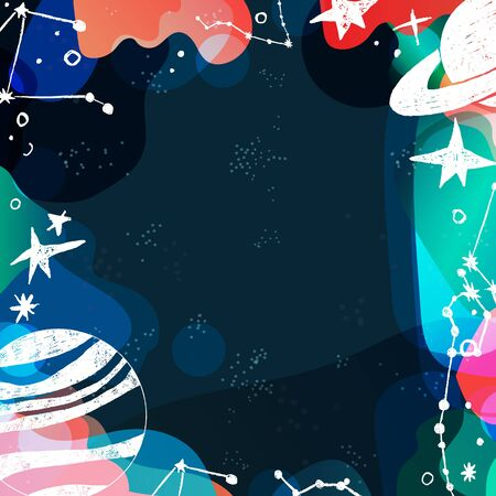 Planets constellations stars vector hand drawn background. Universe astronomy wallpaper copyspace. Book covers, posters, flyers, magazines, templates with hand drawn cosmic elements Иллюстрация