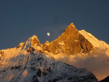 fishtail: Sunset on fishtail peak in Nepal
