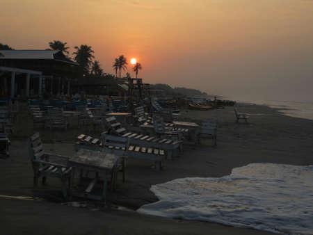 ghana: Sunset Ghana beach Stock Photo