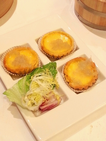 topped: Baked Egg Tart Topped with Bird Nest