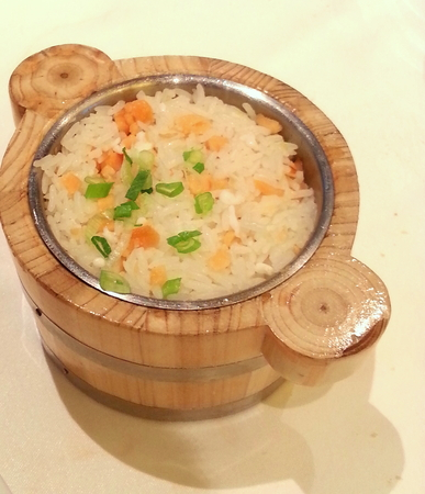 egg white: Fried Rice with Smoked Salmon and Egg White Served in Mini Wooden Pot