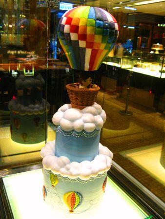 air: Hot Air Balloon Cake Stock Photo