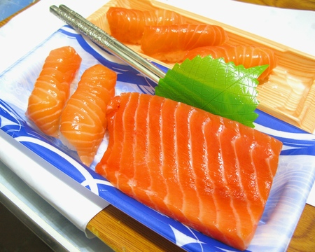 marvellous: Salmon Sashimi and Sushi with A Pair of Silver Chopsticks