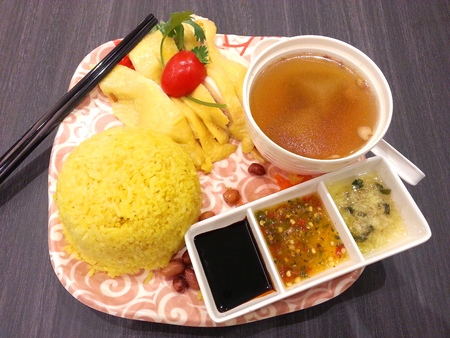 terrific: Hainanese Chicken Rice with Soup and Three Sauces