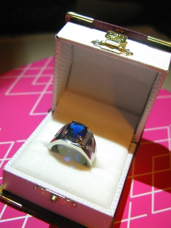 carbuncle: A Sapphire Ring with Diamond Decoration Stock Photo