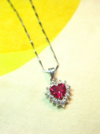 carbuncle: Heart Shaped Ruby Hanging Ornament with Necklace