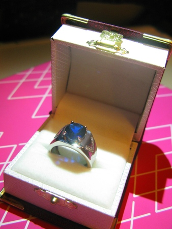 carbuncle: Sparkling Sapphire Ring Stock Photo