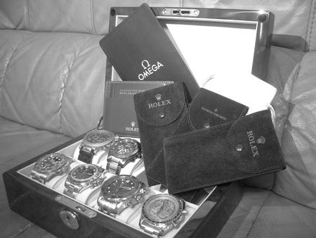 constantin: Rolex and Omega Watches in Black and White Style