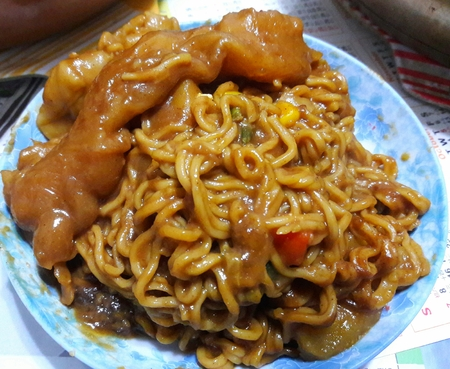 Japanese Curry Fish Maw and Pork Dumpling Noodles 版權商用圖片