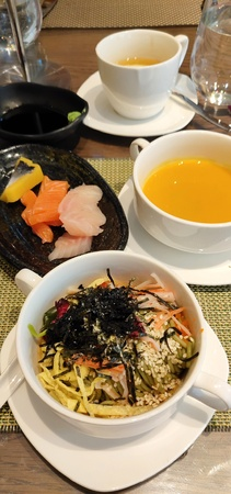 Japanese Cold Noodles, Sashimi and Pumpkin Soup