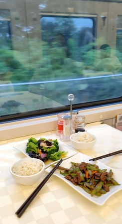 Chinese Dining in High Speed Train