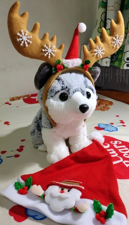 Arctic Fox Doll with Christmas Reindeer Hat