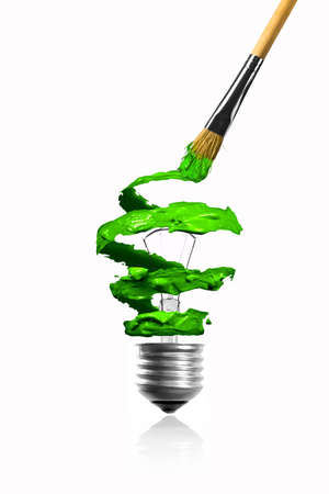 Paintbrush paint spiral color trace light bulb photo