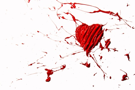 Red color bursting love heart photo