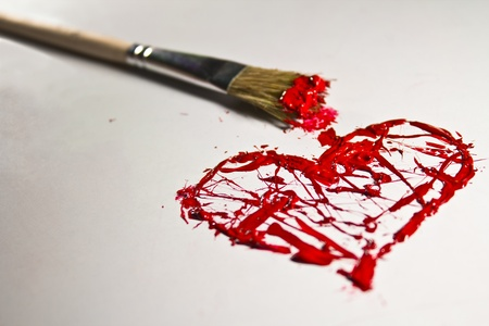 Red color splash love heart and brush photo
