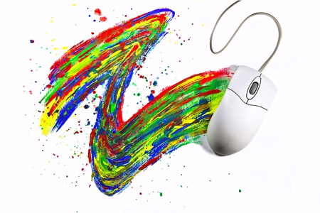Computermouse painting with color leaving dynamical color trace on white background Stock Photo - 17485810