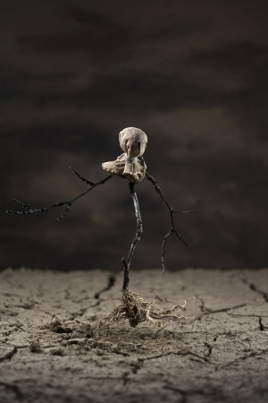 cranny: Scarecrow walking with its own roots in the desert Stock Photo