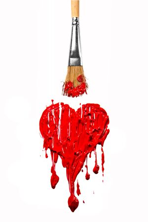 Brush paint red color love heart photo