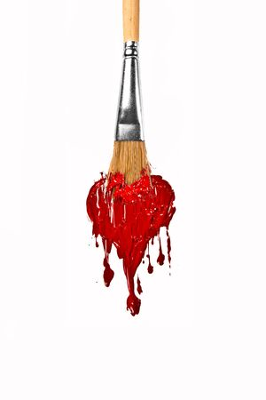 Brush paint red color melting love heart  photo