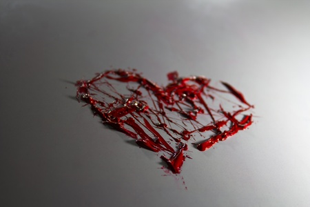 Moody red color splash painted love heart Stock Photo - 17485812