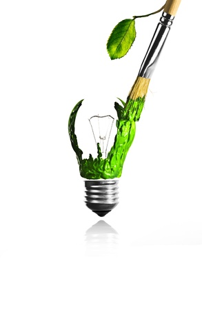 Leaf growing paintbrush paint a light bulb photo