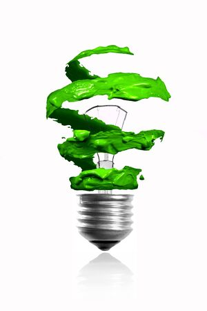 Spiral green color trace eco light bulb photo