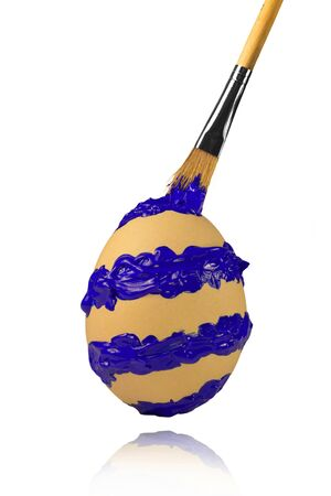 Blue spiral brush stroke on the easter egg