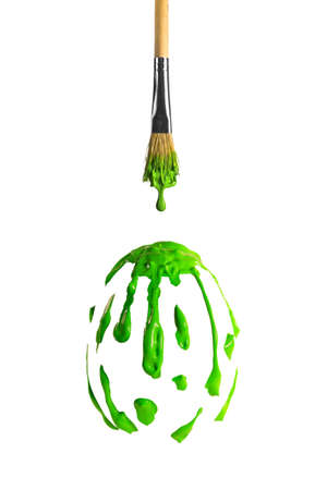 Easter egg shape made of green color form from the brush