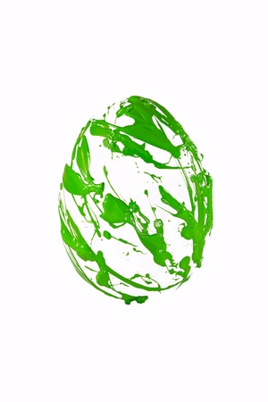 Green paint spray on the easter egg form