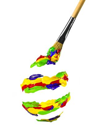 Multicolored paint shaped spiral easter egg form Stock Photo