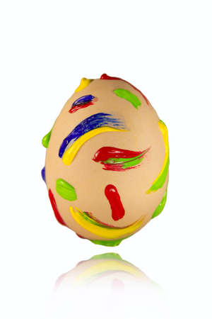 Multicolored paint strokes on the easter egg Stock Photo