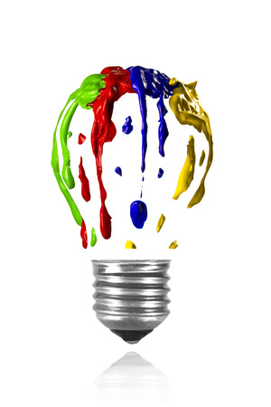 Isolated multicolor paint leaking in light bulb form Stock Photo