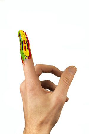pointing up: Isolated multicolor painted forefinger pointing up