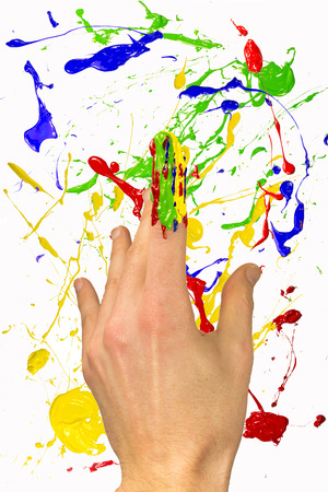 forefinger: Hand with painted forefinger on colorful background Stock Photo